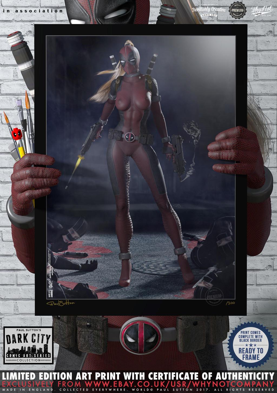 Lady Deadpool ...Ninja Attack! 'Dark City' Series by PaulSuttonArt