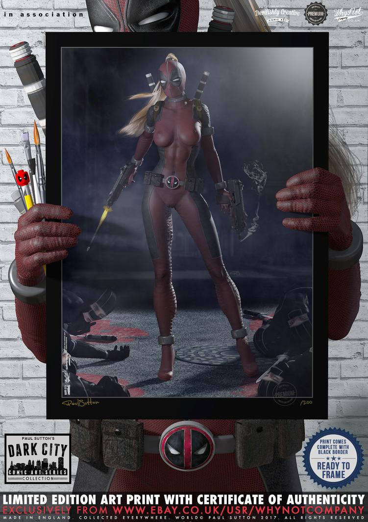Lady Deadpool ...Ninja Attack! 'Dark City' Series by DevilishlyCreative