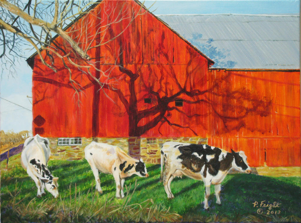 Barn and 3 cows by pfeight