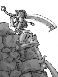 Dark Elf Rogue Sketch by RoninDude
