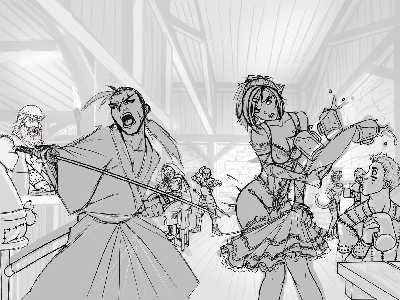Tavern Shenanigans - Sketch by RoninDude