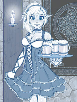 Barmaid Lin Sketch - Drinks are up