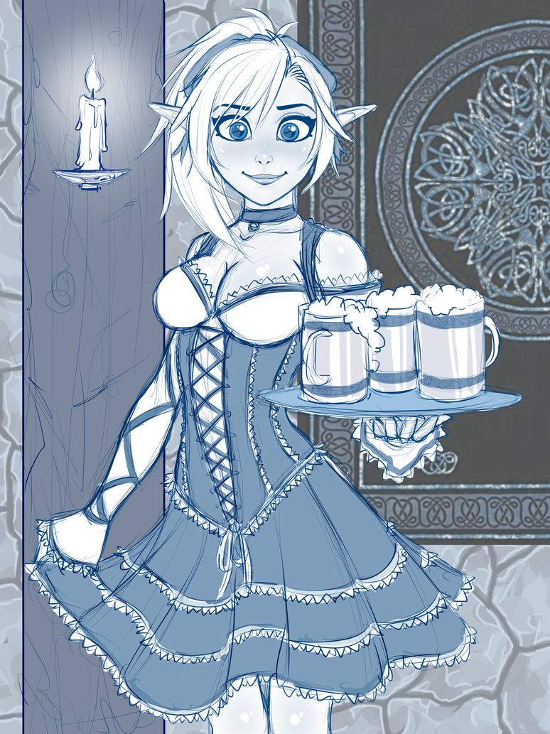 Barmaid Lin Sketch - Drinks are up by RoninDude
