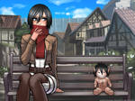 Mikasa and the little titan