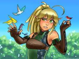 Elven Archer vs Tiny Birdies by RoninDude