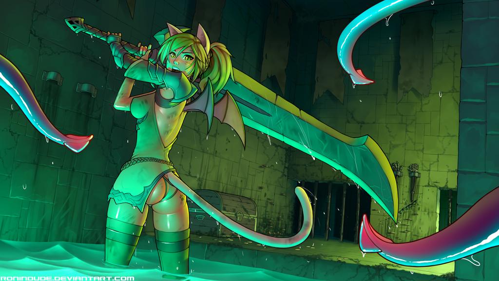 Commission - SapphicNeko Blademaster by RoninDude