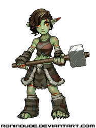 Piglet the Goblin Barbarian by RoninDude