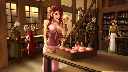 Commission - Mylea in Potion Shop by RoninDude
