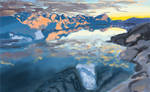 Polar lanscape during golden hour