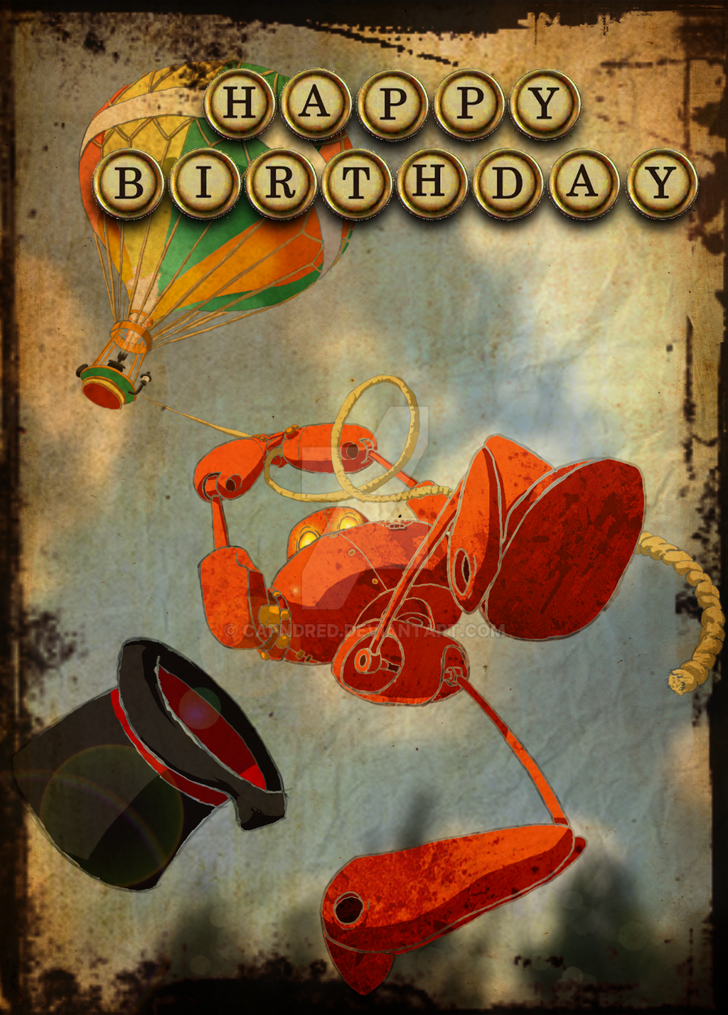 Steampunk Robot Birthday Card with The Coggingtons by CapnDred on – Steampunk Birthday Card
