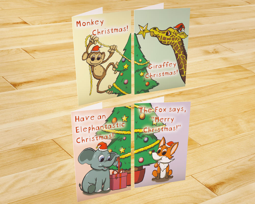 Cute animal christmas cards by capndred on deviantart for Wildlife christmas cards 2016