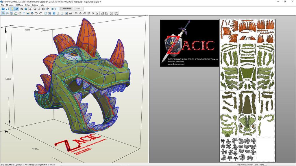 Fortnite Dino Mask Letter Paper Unfolded By Zacic by zacic on DeviantArt