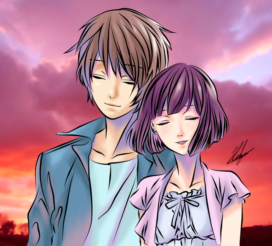 Couple in sunset by neoyurin on DeviantArt