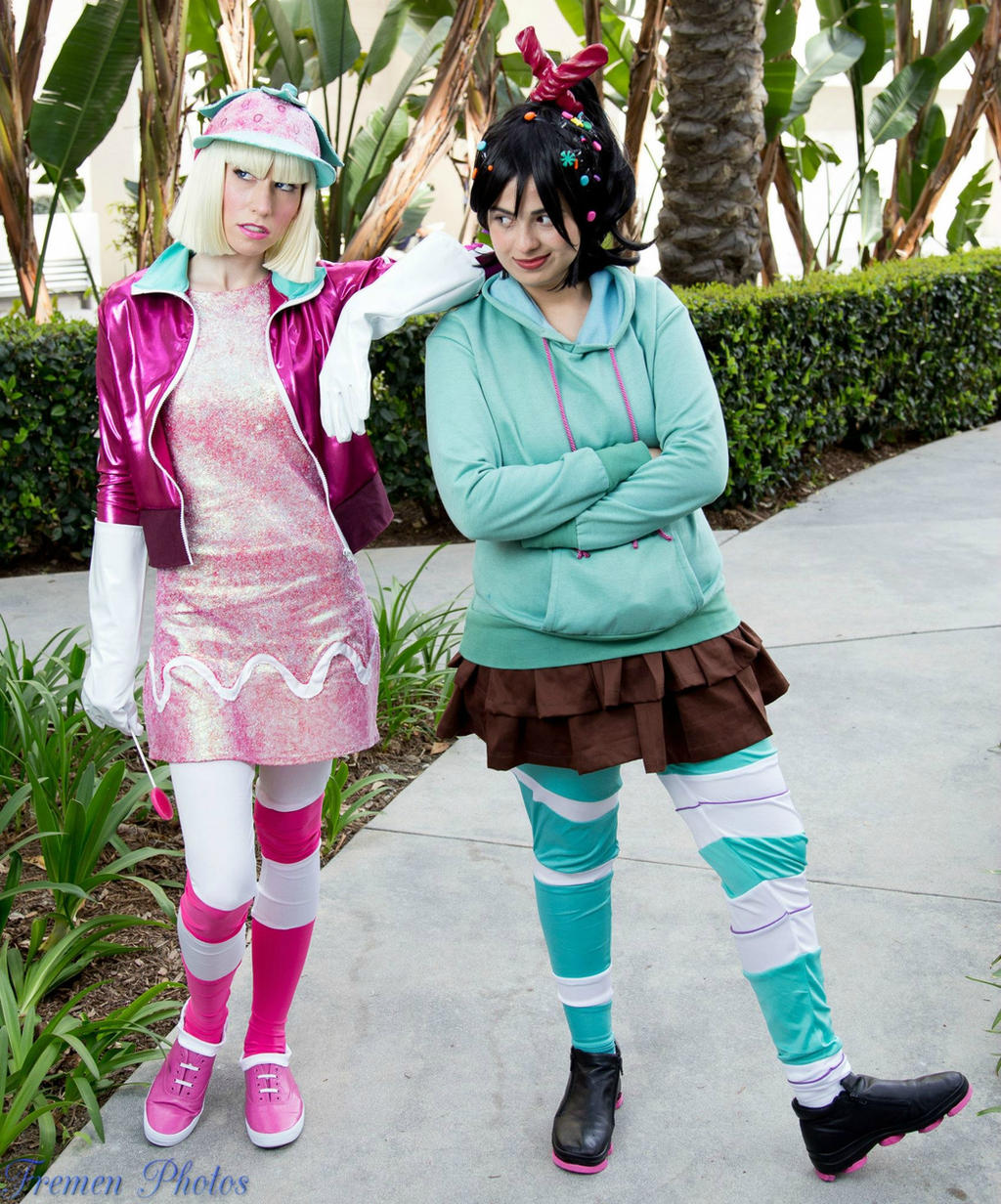 the glitch and the taffyta and vanellope by