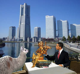 Obama and a Llama in Yokohama by junuxx