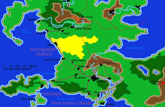 Map of southern Kaynor