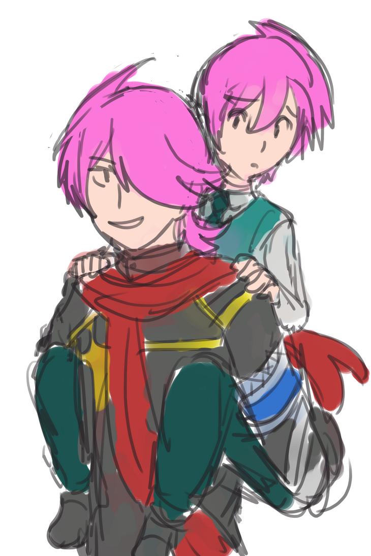 Fugitive Jiro Carry Young Jiro by mimidan