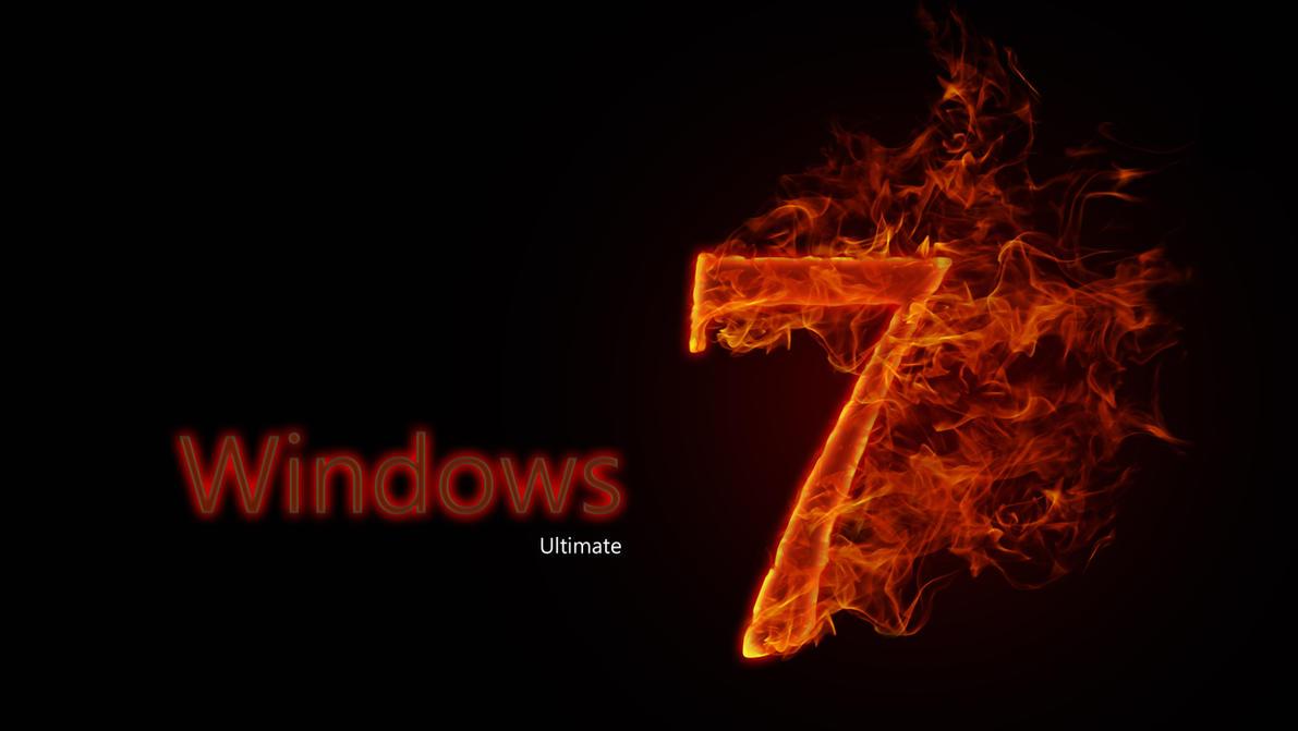 Windows 7 Ultimate On Fire by Genoblex