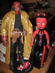 Hellboy Hellgirl and baby 1 by chrestomancie