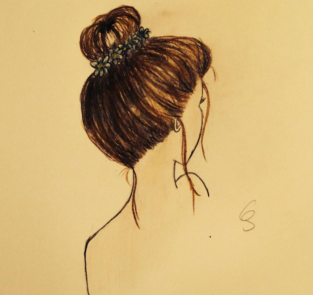 Messy Bun Drawing By Summerreds