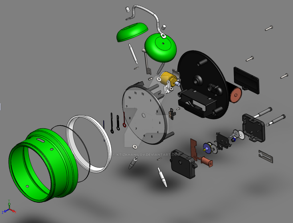 Solidworks Alarm Clock Exploded View By Ktizkhanilov On Deviantart Wire Diagram