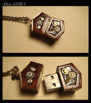 Steampunk mini USB drive Pendant 8GB