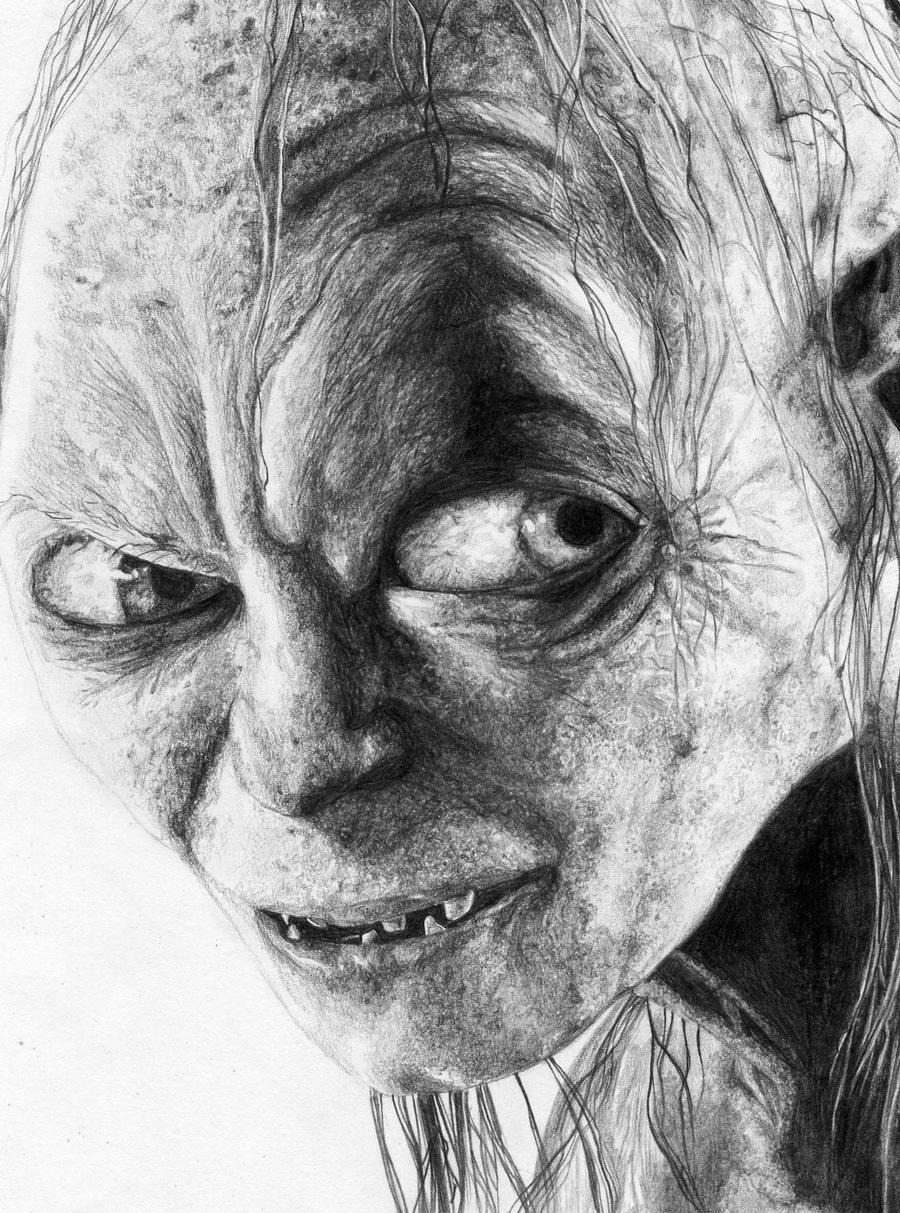 Gollum pencil sketch by n00dleincident on deviantart for Awesome face drawing