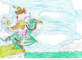 Riding on Leaper Lizard in Dragon island: Redraw by Rathaloshunter16