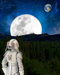 Alien planet with astronaut by oXpixelpixelpixelXo