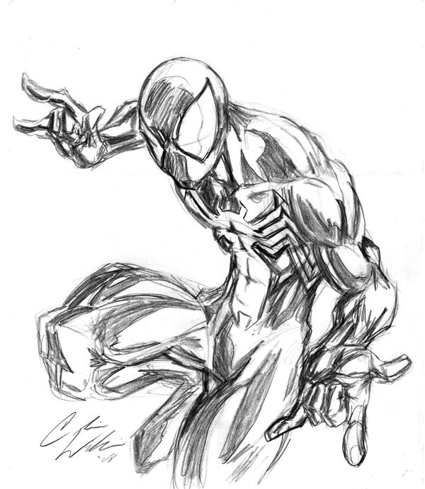 BLACK SUIT SPIDEY Sketch By CdubbArt On DeviantArt