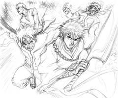 Naruto Vs. Ichigo by CdubbArt