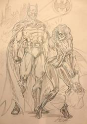 Batman and Black Cat sketch by CdubbArt