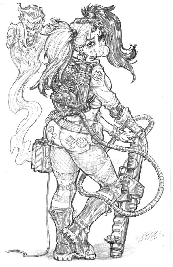 Ghostbusters: Harley Quinn by CdubbArt