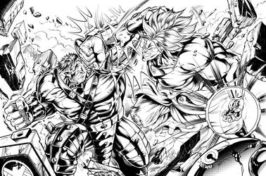 HVB (Hulk v Broly) Inks by CdubbArt