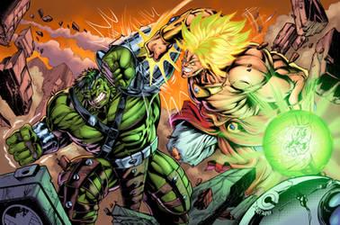 Hulk V Broly Colors4 by CdubbArt