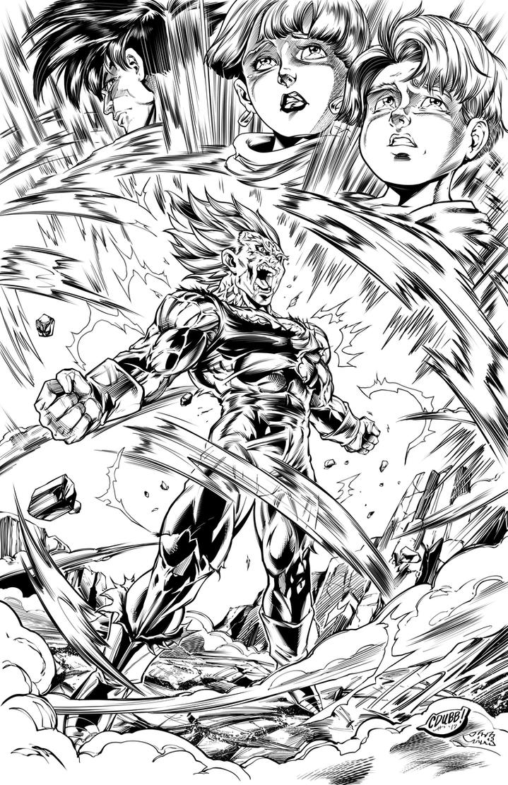 Vegeta's Final Atonement Inks by CdubbArt