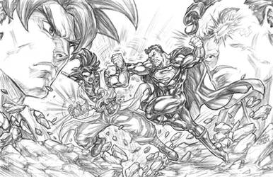Xeno Goku Vs. Superman Prime by CdubbArt