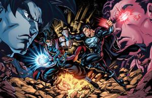 Xeno Goku Vs. Superman Prime Colors by CdubbArt