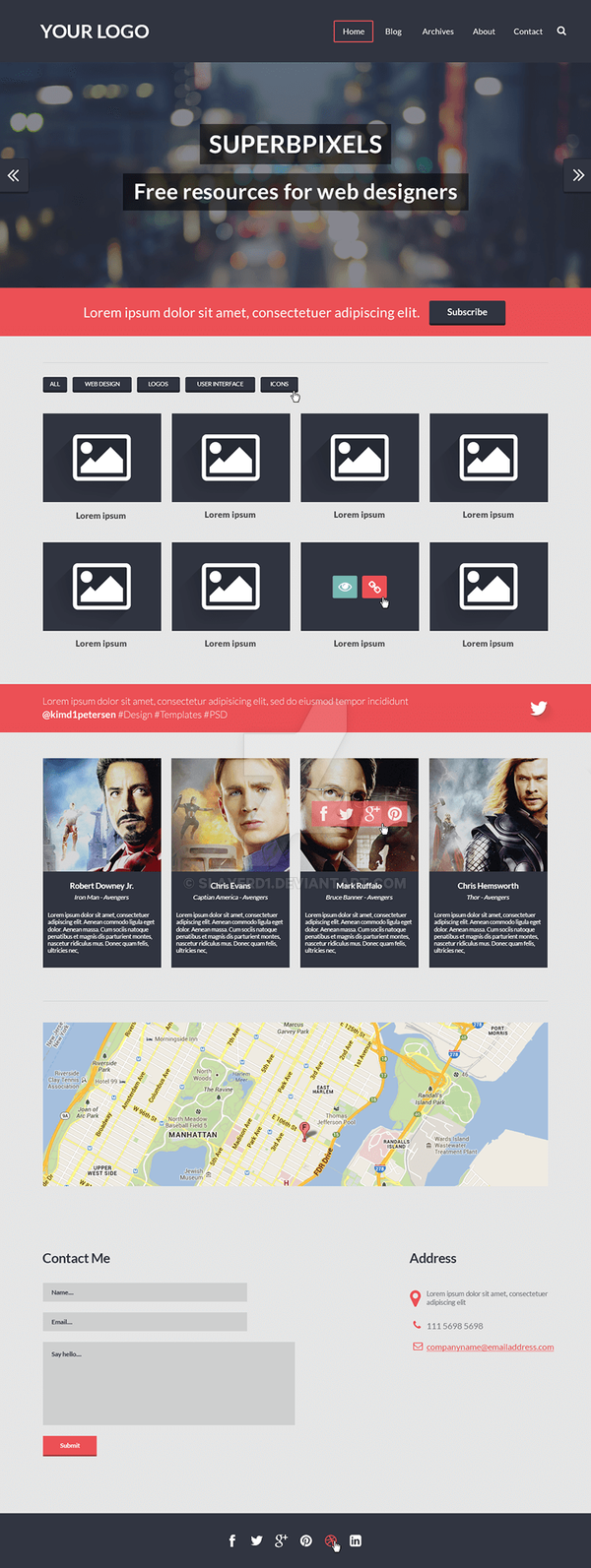 One Page Website Template PSD by slayerD1