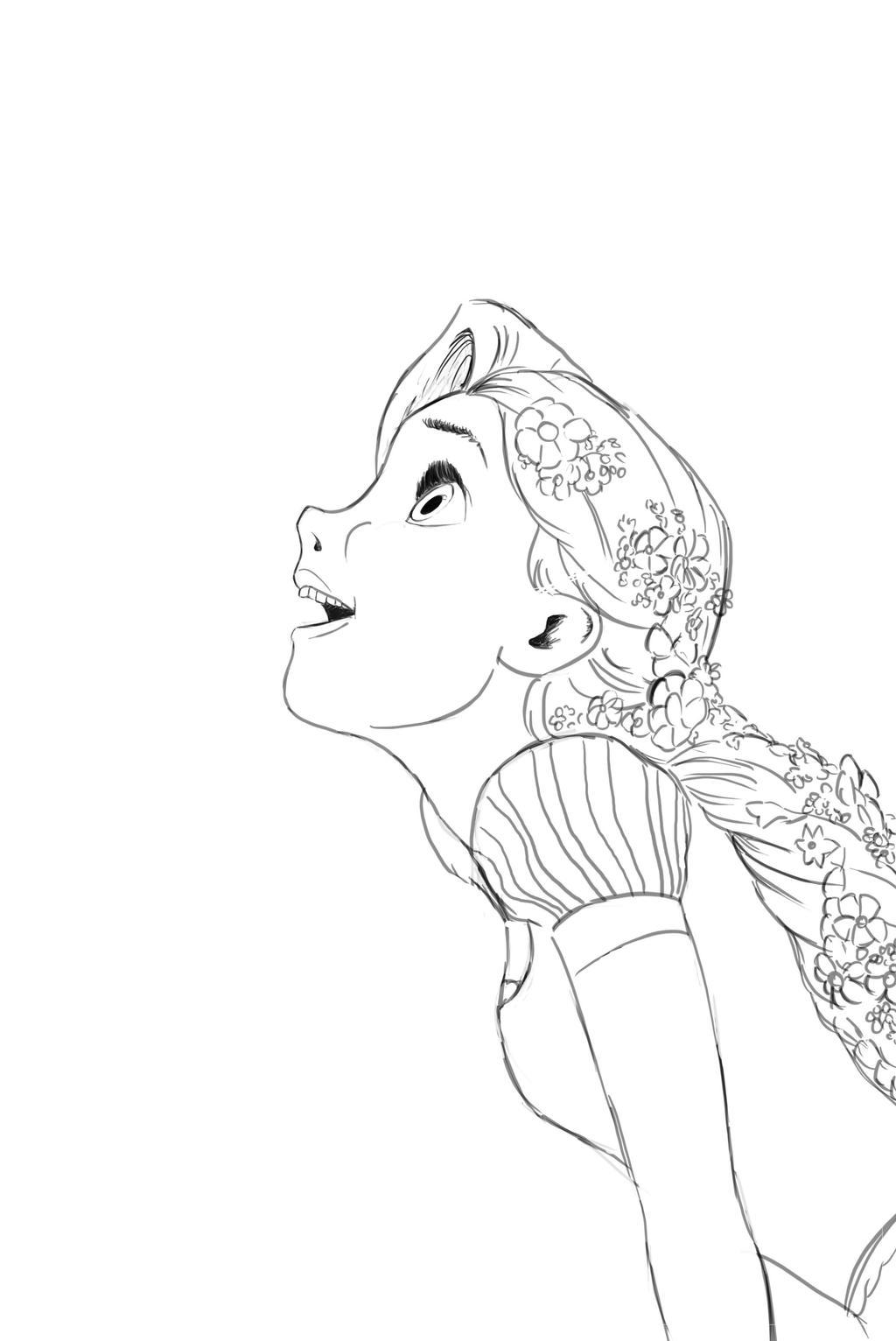 Rapunzel Lineart : Rapunzel lineart by mrsyaf on deviantart