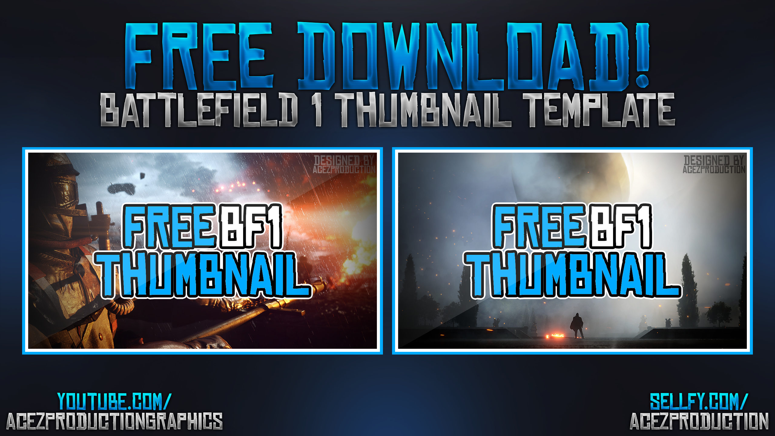 Free Battlefield 1 YouTube Thumbnail Template Pack by ...