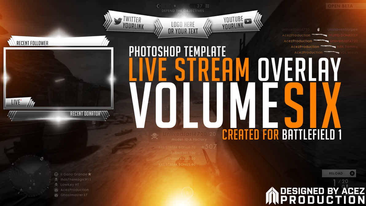 Live Stream Overlay Template Pack V6 Battlefield By Acezproduction