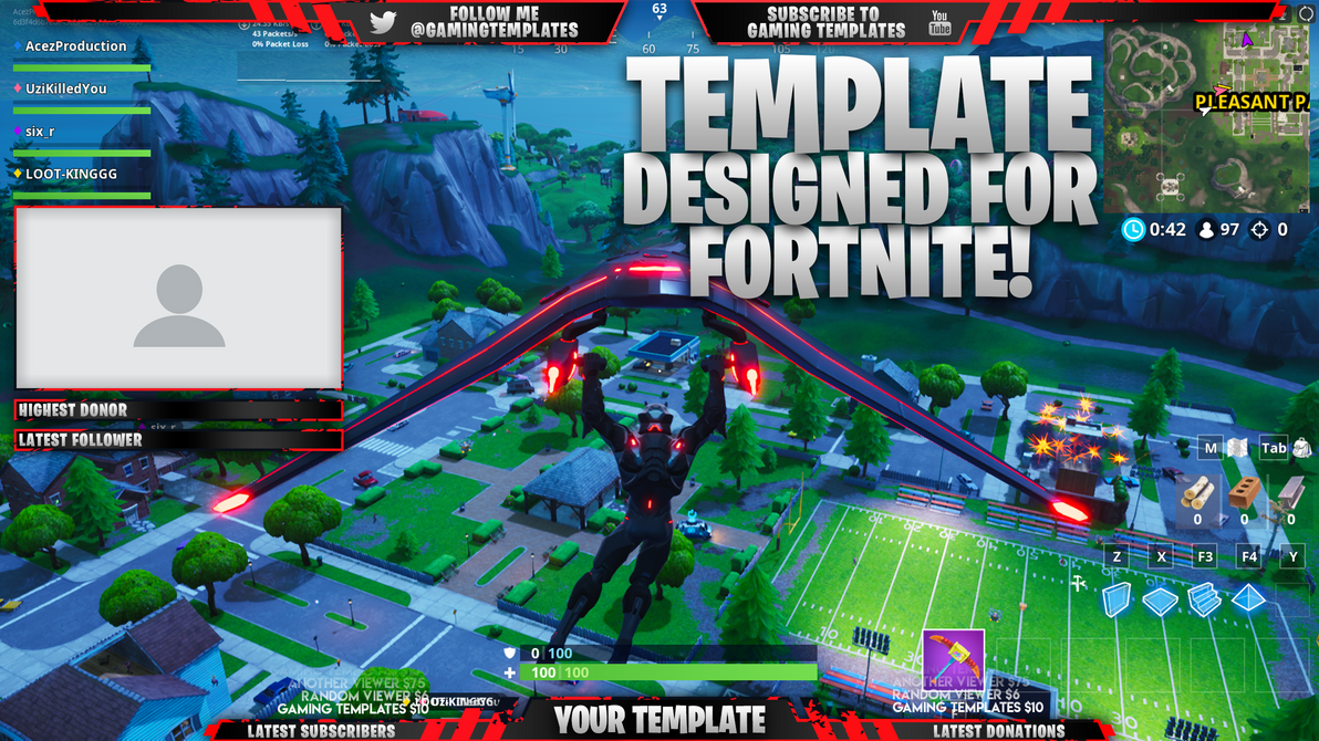 Live Stream Overlay Template Pack - Fortnite by AcezProduction on