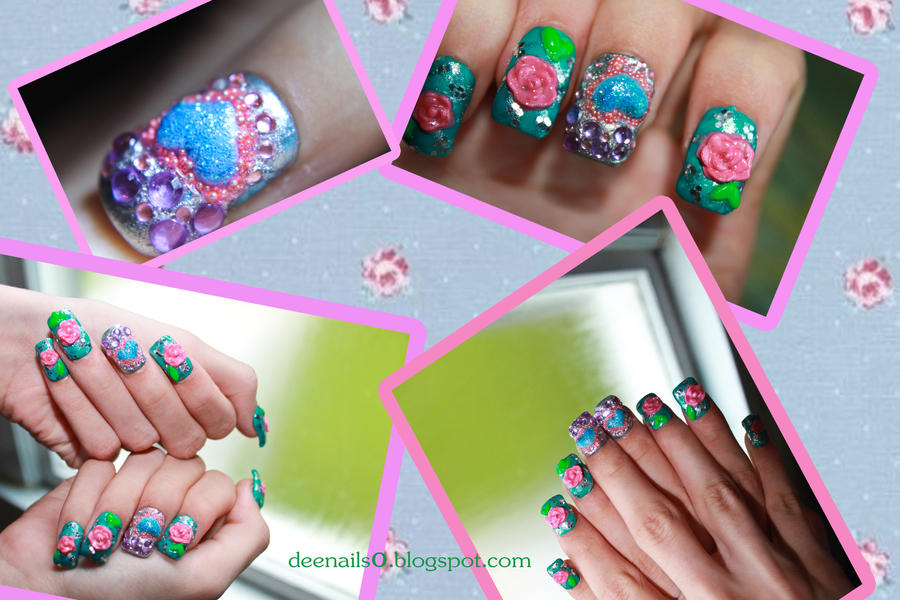 Briar Rose nail design-Inspired by disney's Aurora by