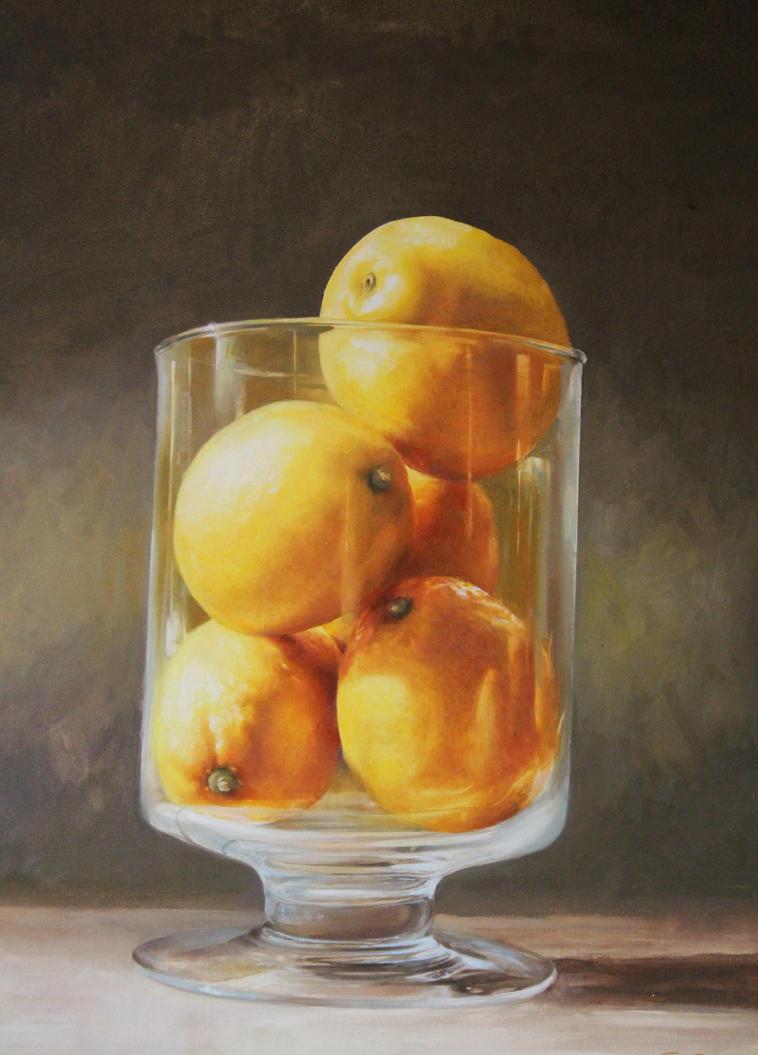Original Oil on Canvas Lemons by wildcory1