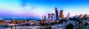 I5 Through Downtown Seattle Panorama