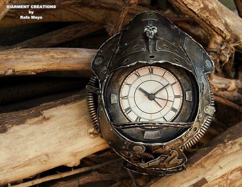 steampunk metal clock by diarment