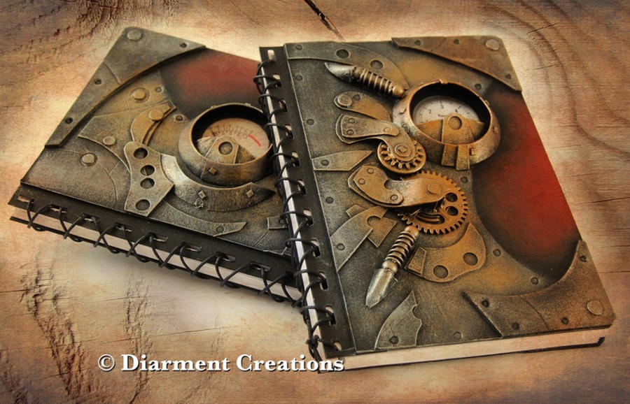 Steampunk Notebook Metal Bronze Red by Diarment