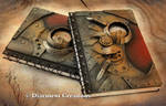 Steampunk Notebook Metal Bronze Red
