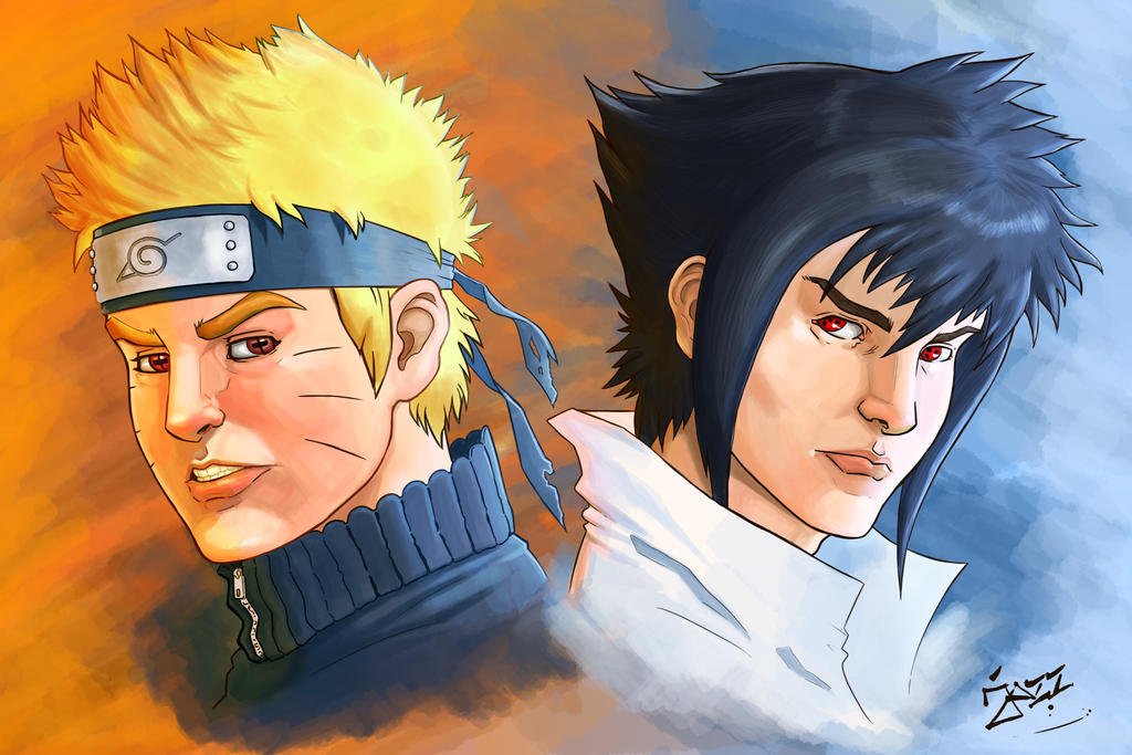Naruto and Sasuke by jazzdelacuesta